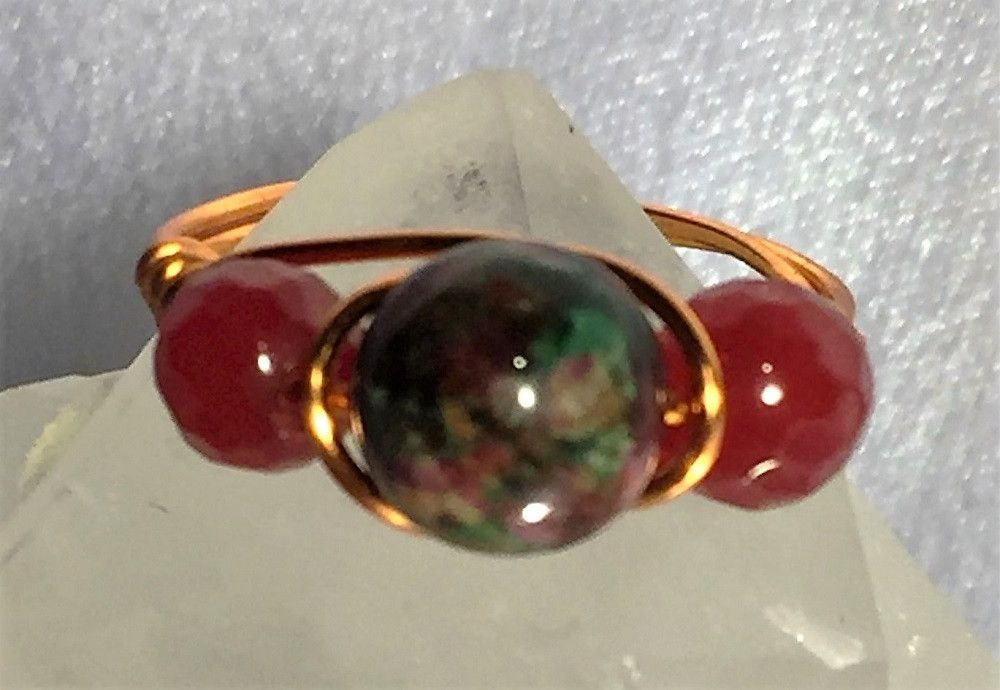 Ruby in Fuschite & Rubies Wire-Wrap Ring (July Birthstones)