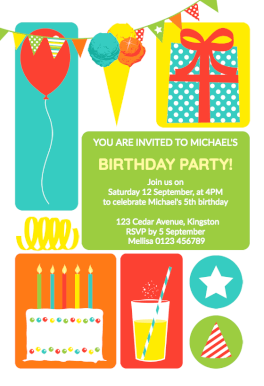 colorful childrens party free printable birthday invitation template greetings island