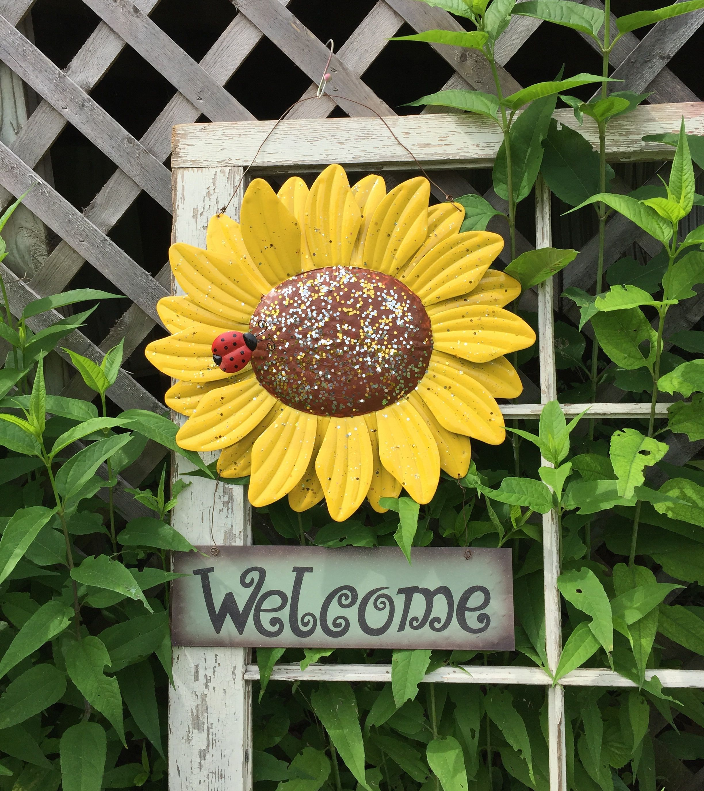 Large Sunflower Welcome Sign - Yellow Metal Yard Art - Outdoor Fence ...