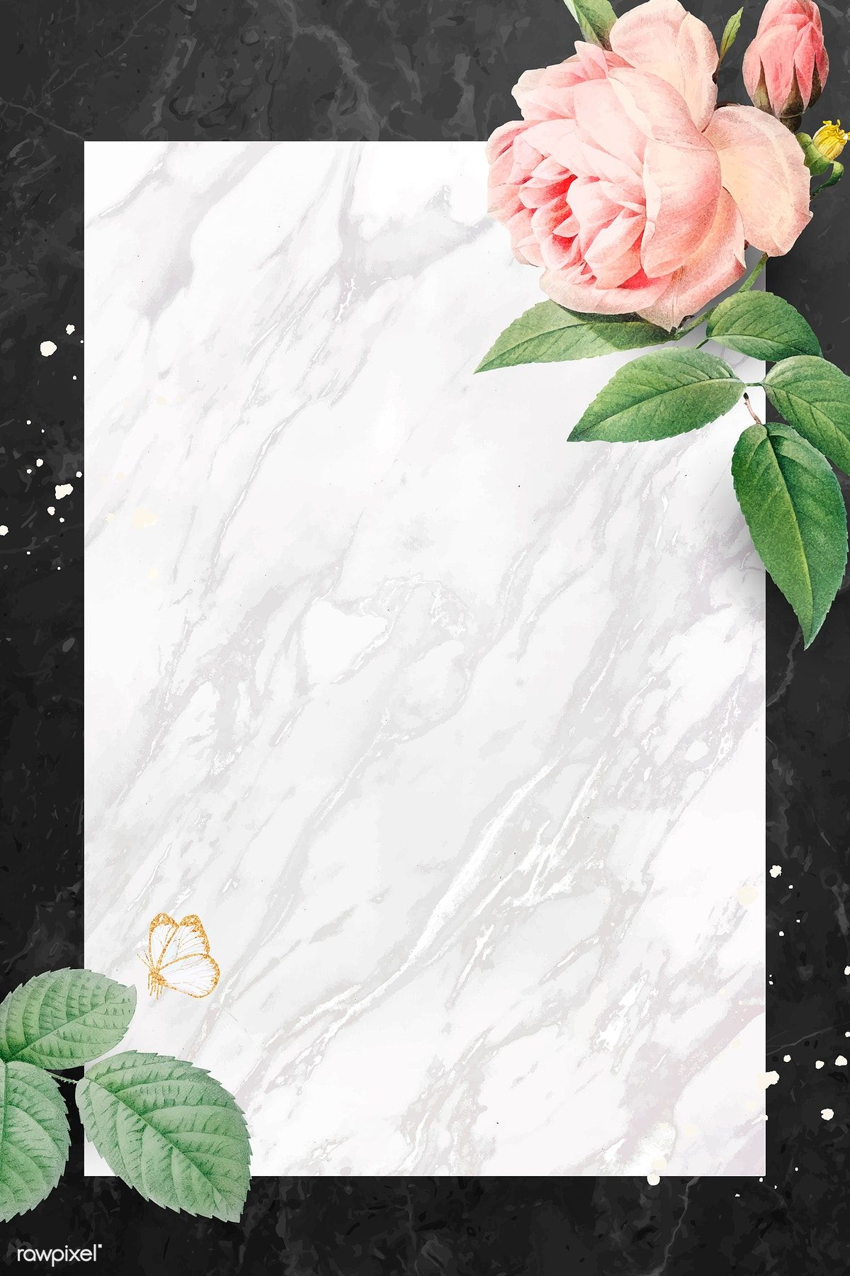 Download premium vector of Pink rose frame on a marble