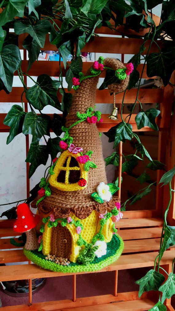this is a newly made one of a kind crochet fairy or gnome house this - Gnome House S Design