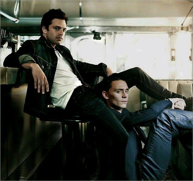 Tom Hiddleston and Sebastian Stan   Tom Hiddleston   Marvel