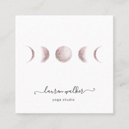 Blush Pink Moon Phases Yoga Studio Business Card Zazzle Com Pink Moon Yoga Studio Business Yoga Studio