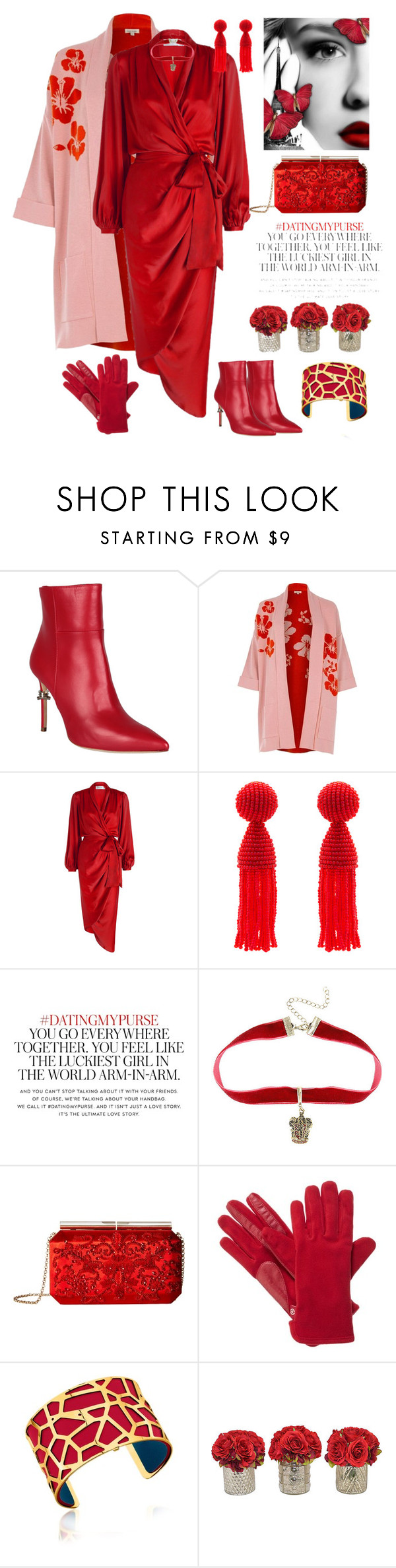 """pink and red"" by katymill ❤ liked on Polyvore featuring Dsquared2, River Island, Zimmermann, Oscar de la Renta, Kate Spade, Warner Bros., Isotoner, Les Georgettes and The French Bee"