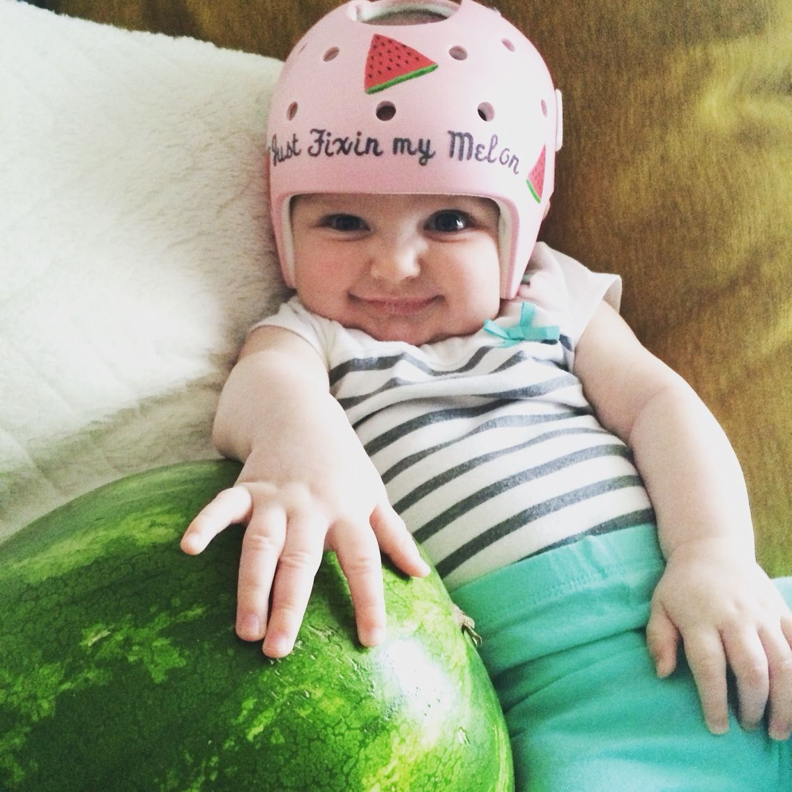 I decorated winnies helmet just fixin my melon shes a helmet baby fixing her flat spot plagiocephaly on the back of her head