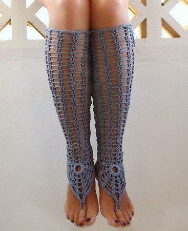 Crochet Blue Gray Sexy Laced Up Leg Warmers, Steel Nude shoes ...