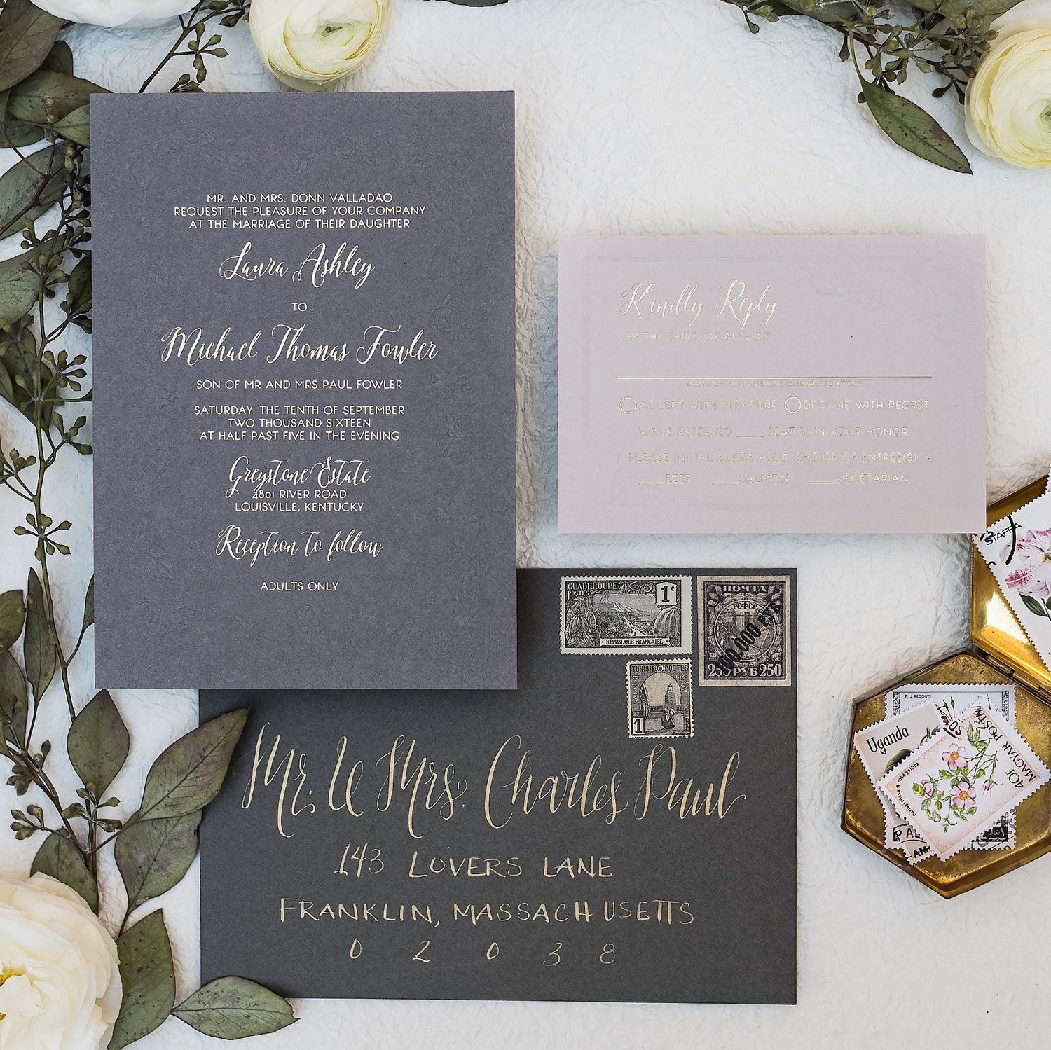how to emboss wedding invitations diy%0A Floral deboss embossed wedding invitations wit gold foil  grey and gold wedding  invites  debossed