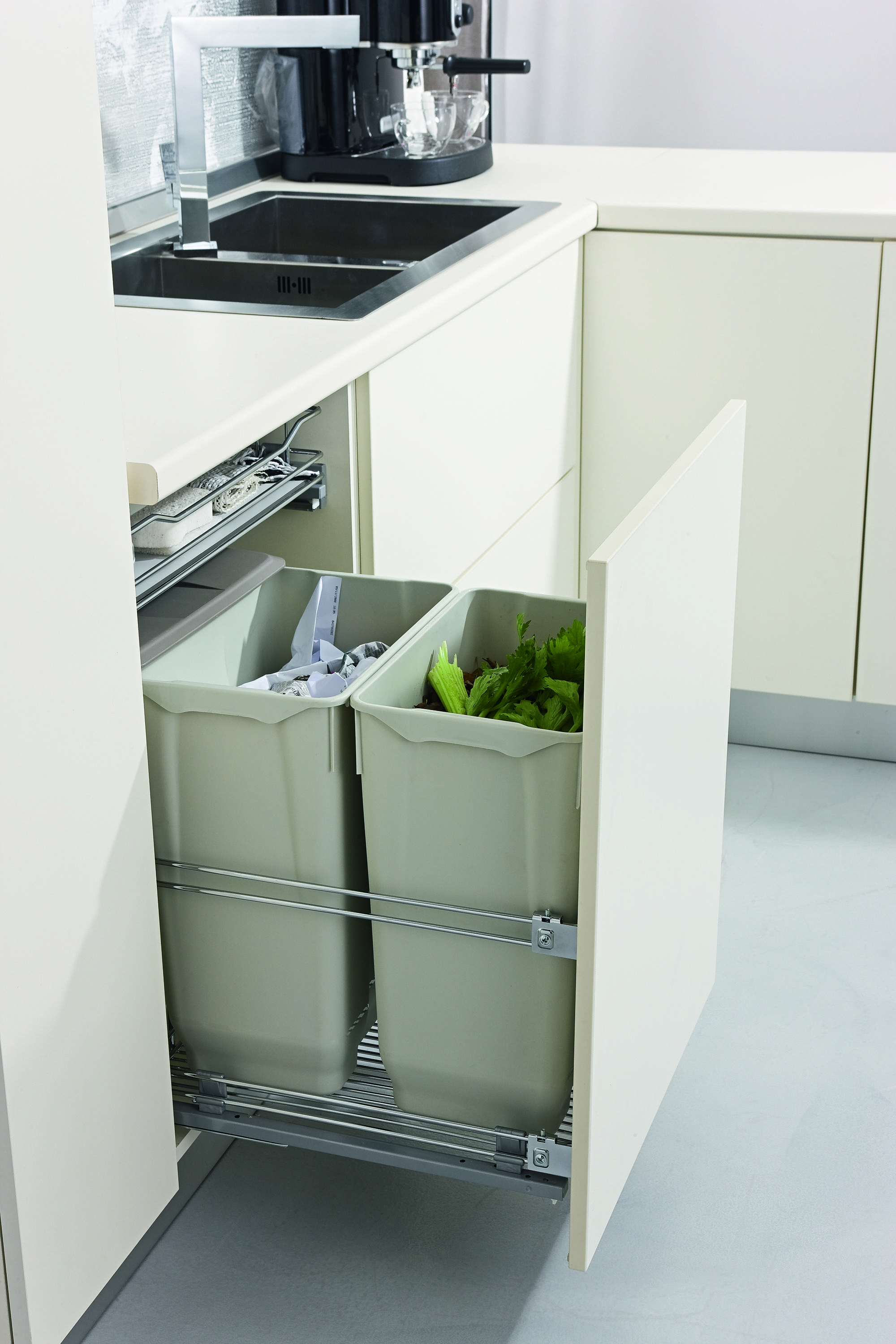 Bin storage solutions using Italian Wirework in the kitchen - making recycling a doddle & Bin storage solutions using Italian Wirework in the kitchen - making ...