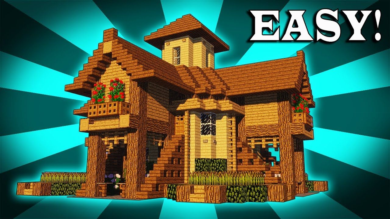 How To Build A Epic Wooden House In Minecraft Https Cstu Io C919ca Easy Minecraft Houses Minecraft House Tutorials Minecraft Blueprints