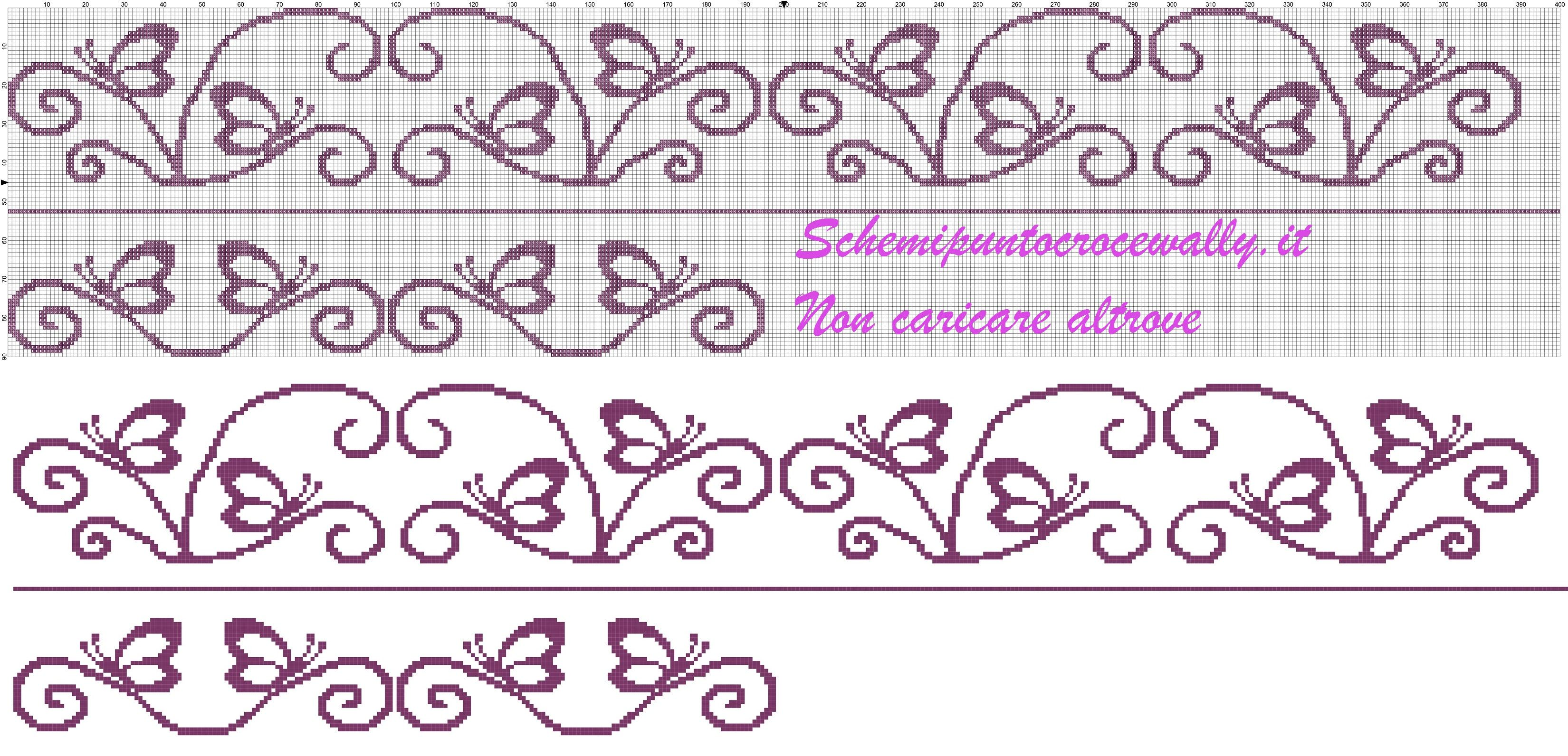 Schema punto croce gratis per asciugamani farfalle for Farfalle punto croce schemi gratis