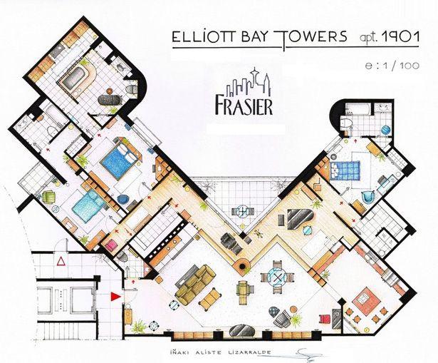 Frasier Floor Plan Drawing Apartment Floor Plan House Floor Plans