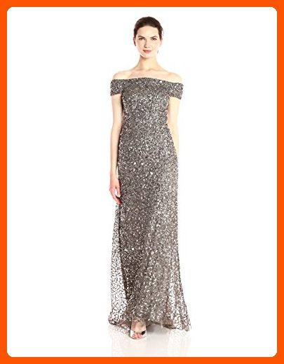 Adrianna Papell Womens Off The Shoulder Beaded Long Gown Lead 10