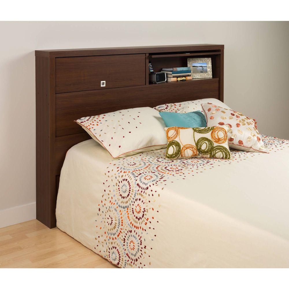 Bookcase Headboard Queen Full Bed Wood Free Standing Doors Storage ...