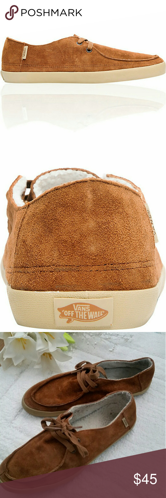 fa2cabc416d  Vans Brown Suede Sneakers  Vans Rata Vulc shoe. Brown suede upper. Fleece  lined inside. Vanslite footbed. Vulc gum rubber outsole. Made with  eco-conscious ...
