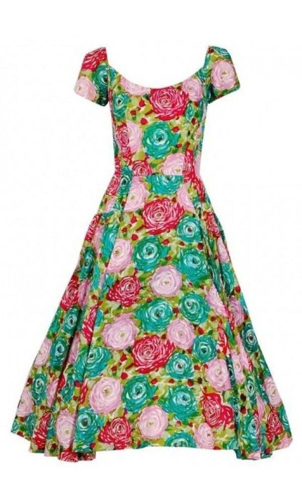 b05e1fc53b793e 1950's Perullo Watercolor Roses Floral Print Silk Pleated Circle-Skirt Dress,  Los Angeles Vintage