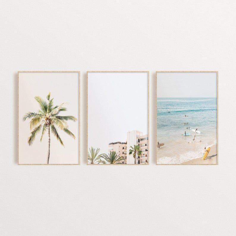 Tropical Beach Set of 3 Prints, Pastel Wall Art Se