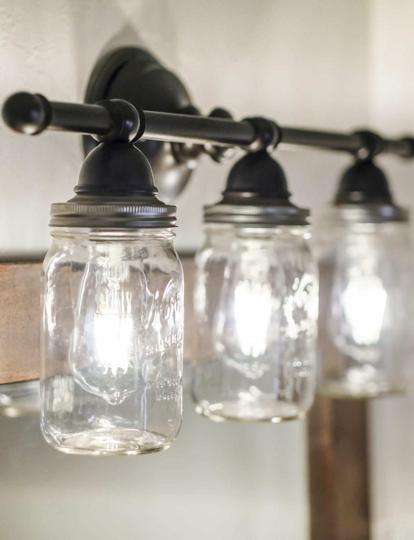 Diy Mason Jar Vanity Light Fixture Diy Light Fixtures Mason Jar