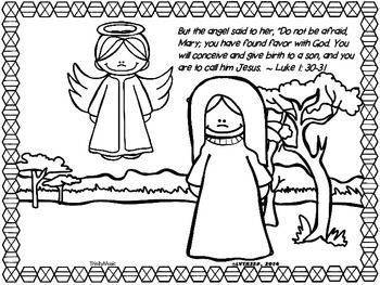 Advent coloring freebie bible themed advent sunday for Gabriel visits mary coloring page