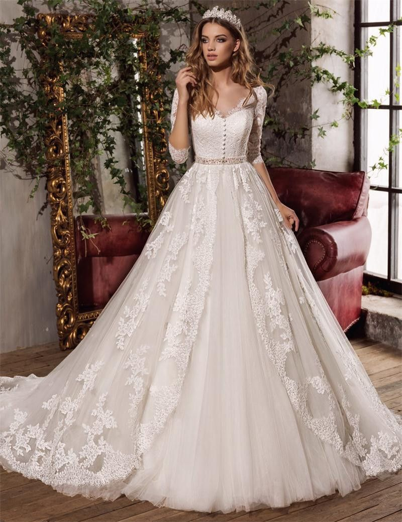 Lace appliques three quarter sleeves bridal gowns fashion exquisite