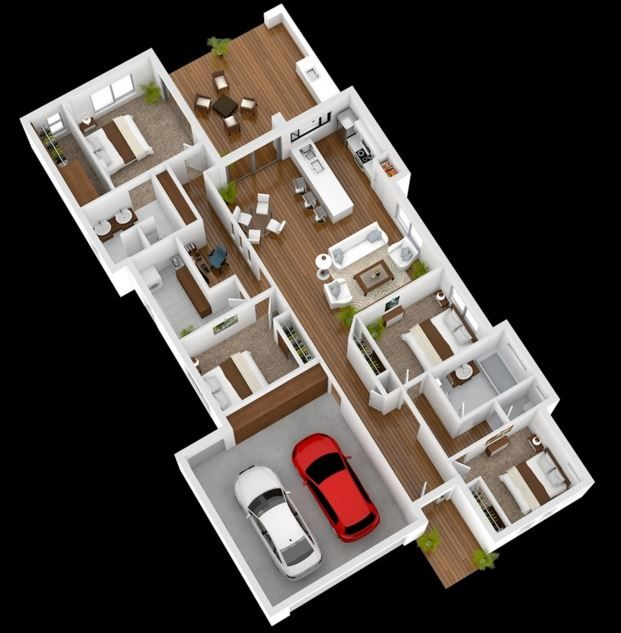 Planos en 3d muebles pinterest planos 3d y casas for Plano habitacion 3d