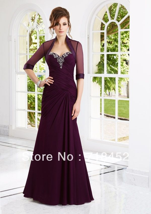 2a15f947bc Modest Burgundy Mother of the Bride Dresses with Jacket Sweetheart  Appliqeus Beading Chiffon Floor Length Free Shipping MA232 -in Mother of .