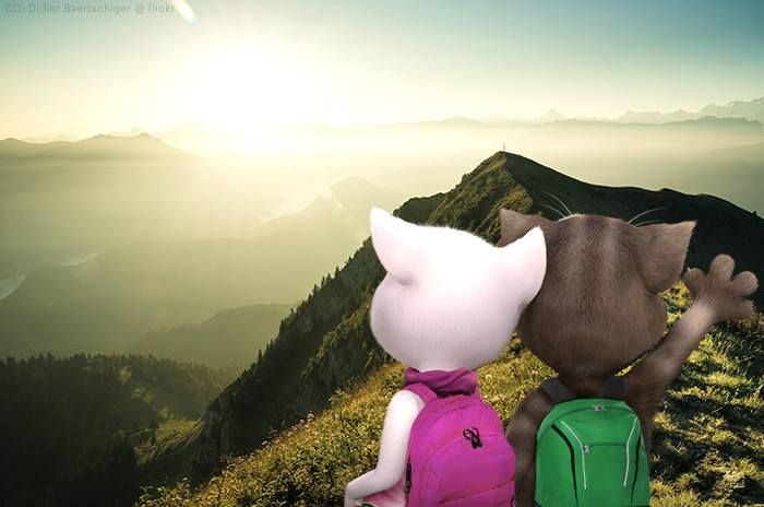 """talking angela and i went hiking! this is us on top of the """"lovers peak""""!"""