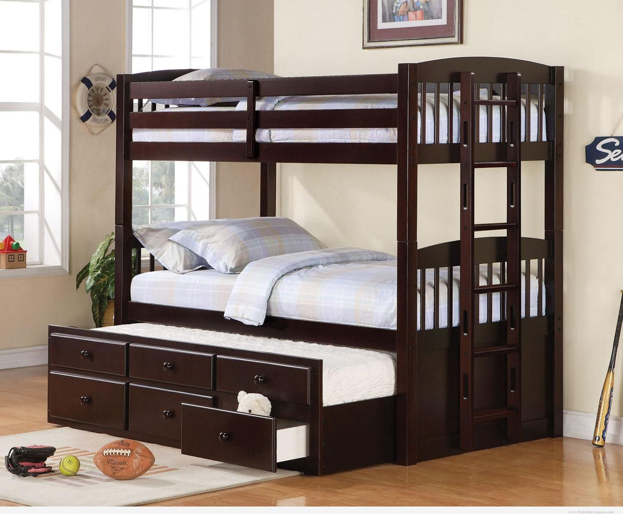 Kids Twin Over Twin Triple Bunk Bed With Trundle And Storage With