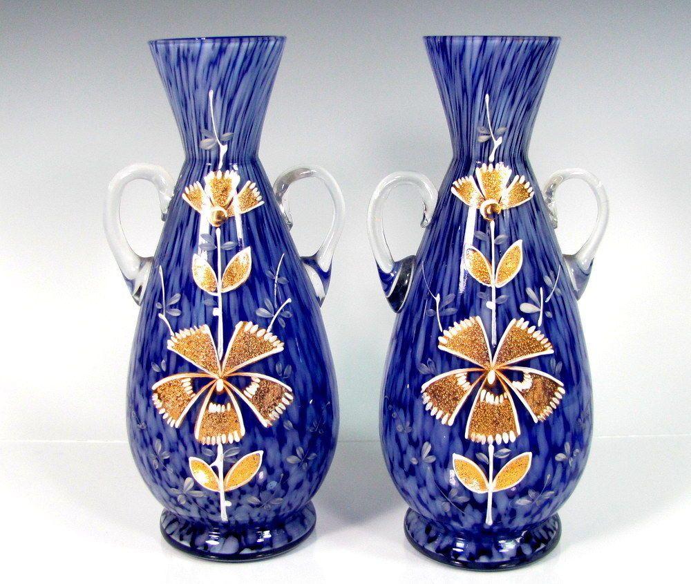 Vintage cobalt spatter glass vase pair cased enamel floral vintage cobalt spatter glass vase pair cased enamel floral decoration gold white floridaeventfo Choice Image