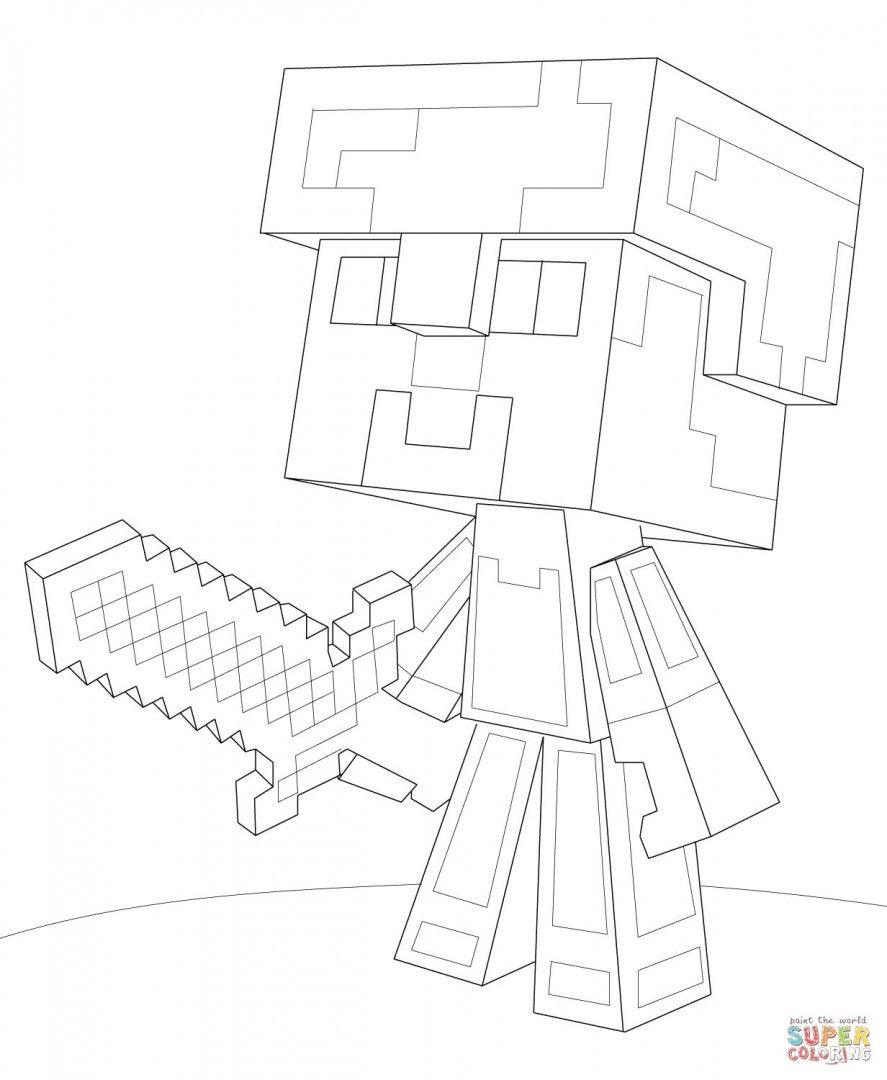 This is a picture of Crazy Steve Minecraft Coloring Page