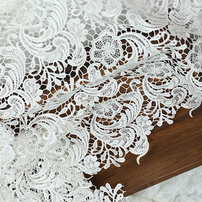 White Soft Flower Lace Fabric 120cm-wide