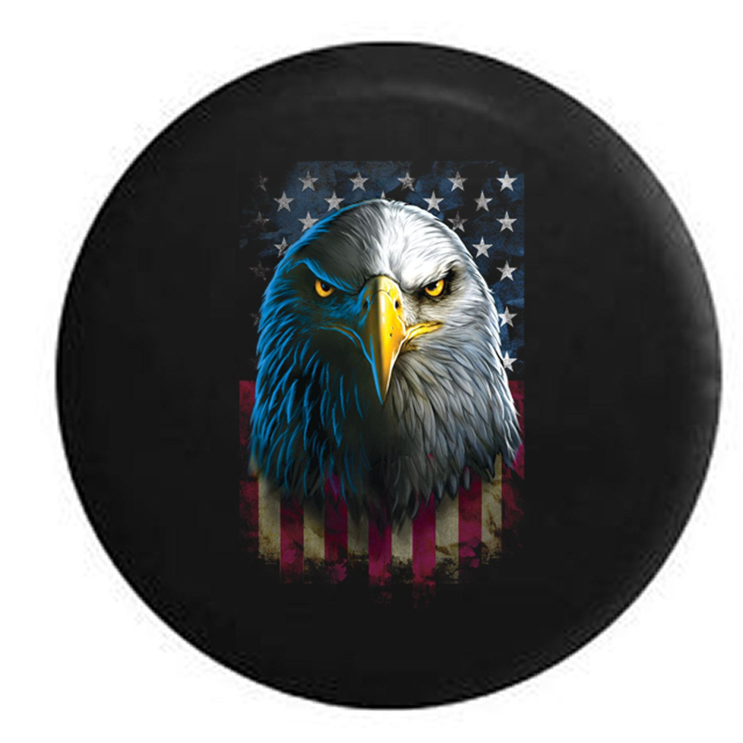 Eagle Stare Vertical American Flag Military Biker Veteran Jeep Rv