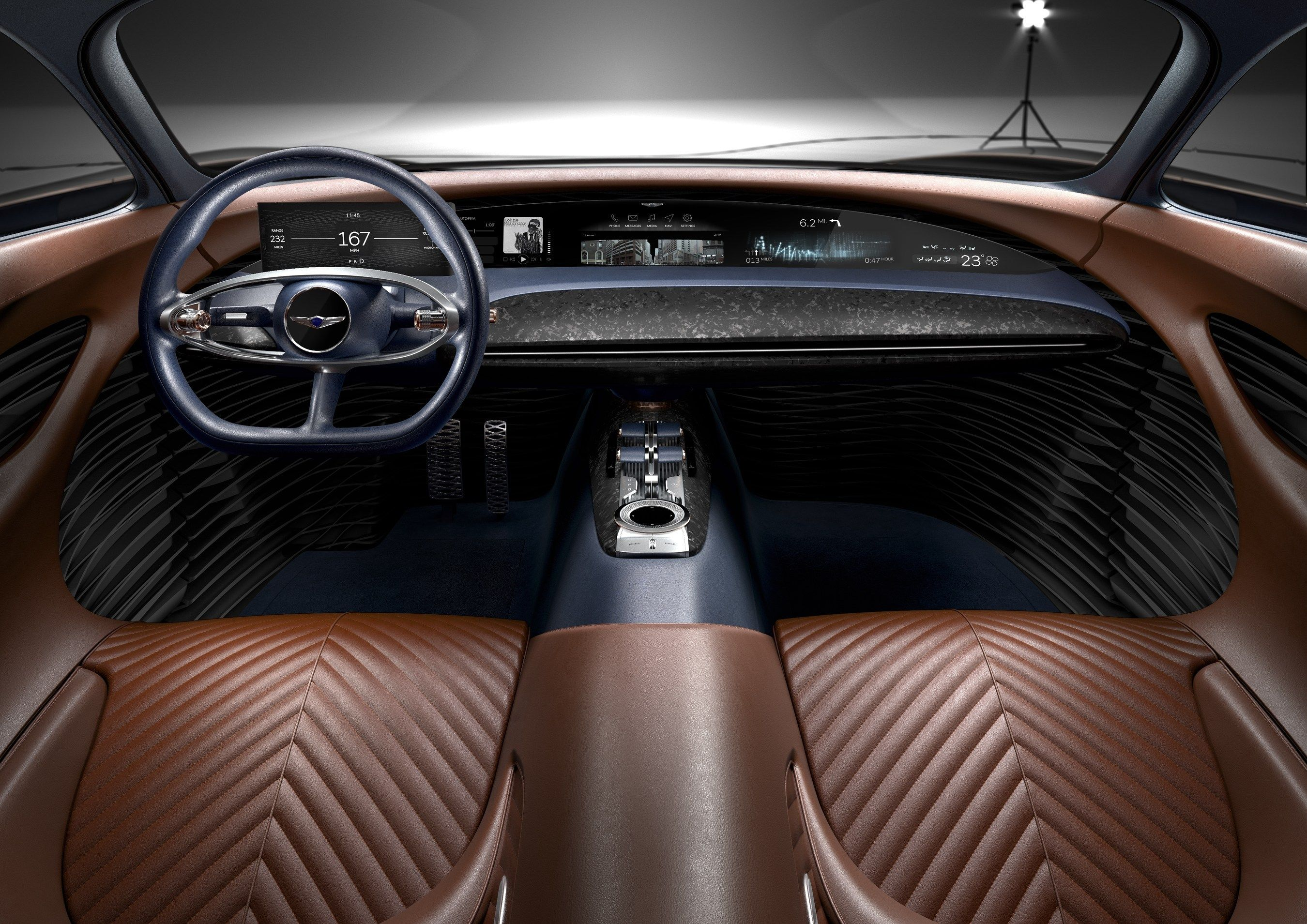 Genesis Unveiled Their Luxury Electric Car Essentia Concept At The New York Auto Show Luxury Car Interior Concept Cars Concept Car Interior