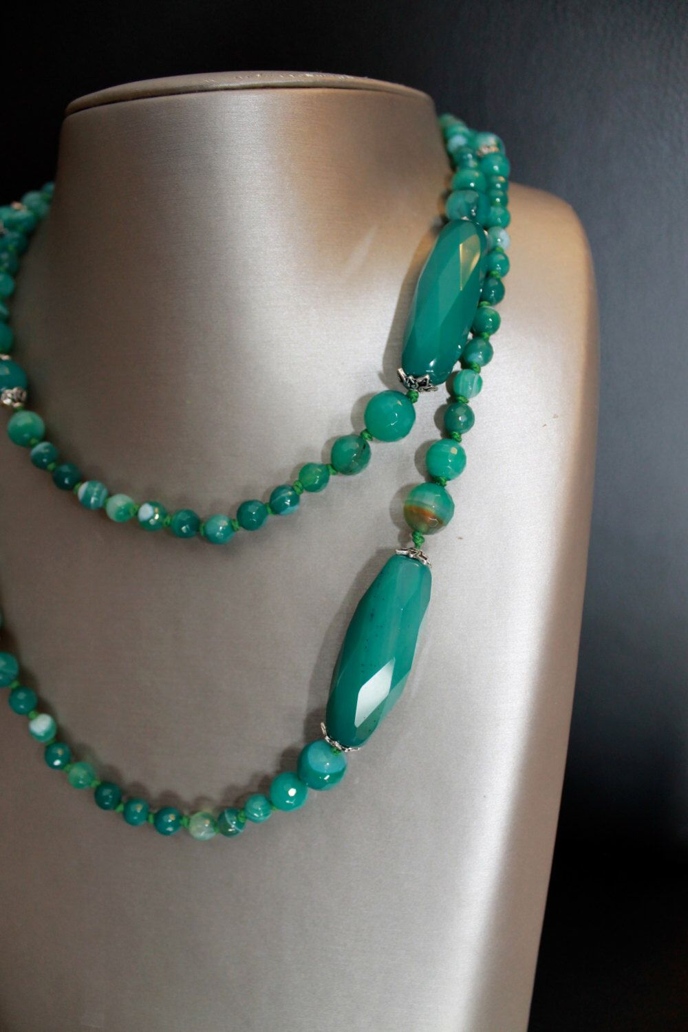 A personal favorite from my Etsy shop https://www.etsy.com/listing/181221004/long-green-agate-mala-necklace-bohemian