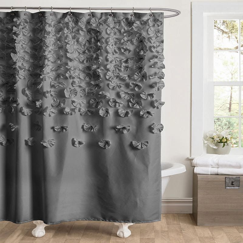 ruffled shower curtain | bathroom/shower curtain ideas | Pinterest ...
