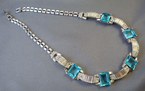 "TRIFARI 15"" Necklace - Emerald Cut Blue Stones & Clear Baguettes"