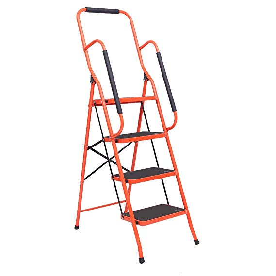 LUISLADDERS 4 Step Ladder Folding Portable Tool Ladder Safety Padded Handrails w…