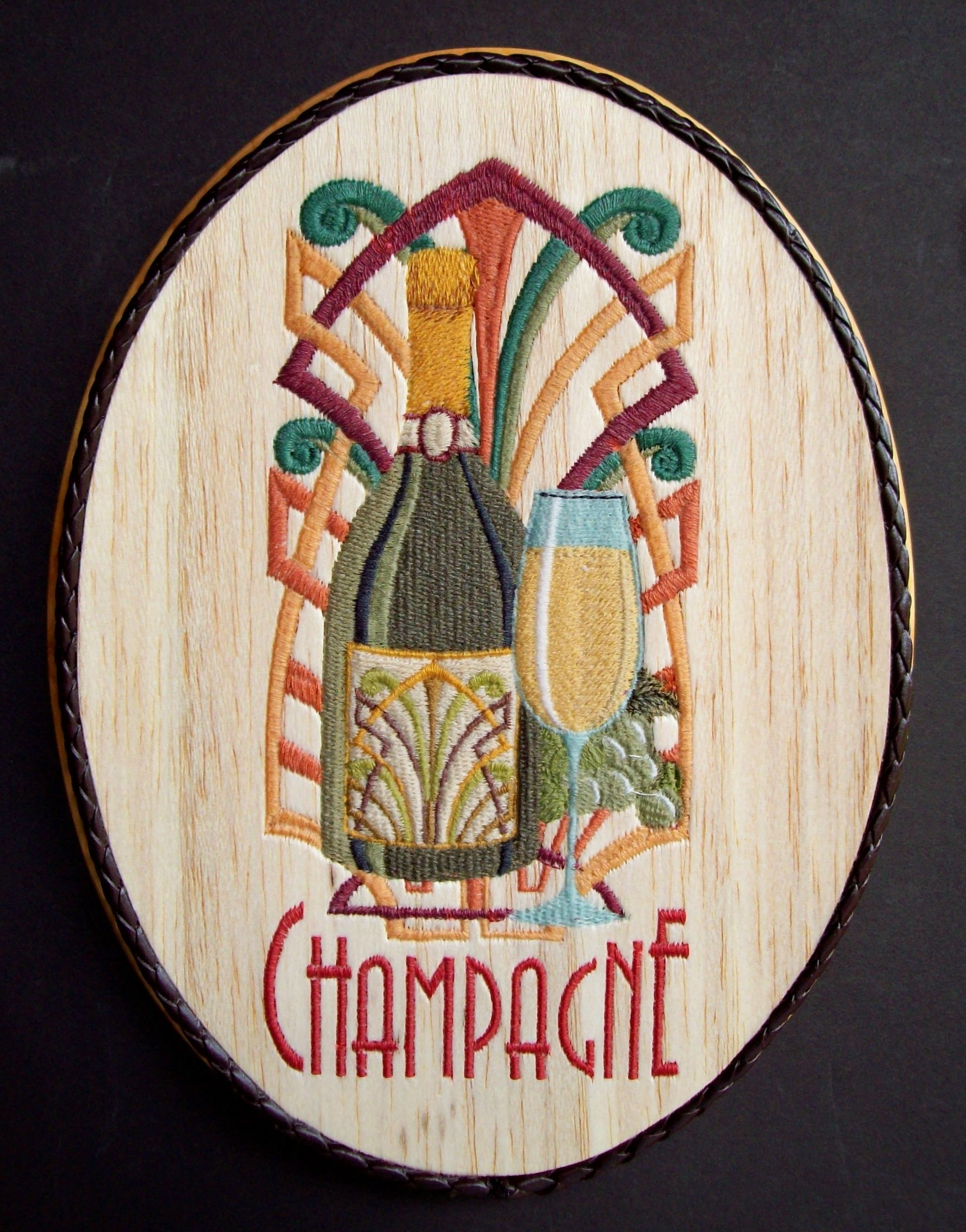 Wine wall decor embroidery wood art bar decor wine wall art wine