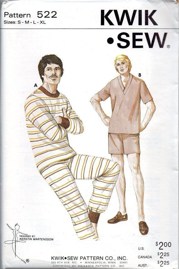 Kwik Sew 522 1970s Mens PAJAMAS Pattern Crew or V Neck all seasons ...