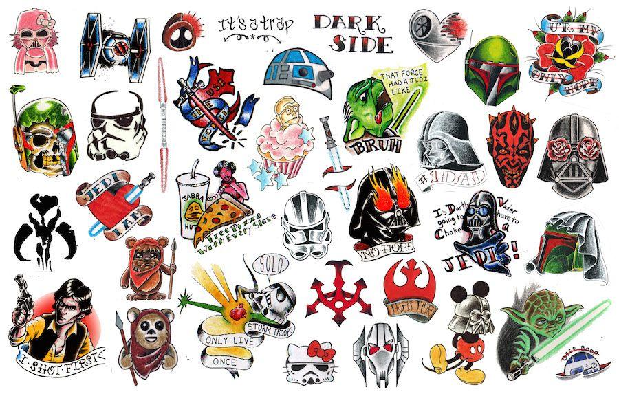 American Traditional Star Wars Tattoo Google Search Star Wars Tattoo War Tattoo Star Tattoos