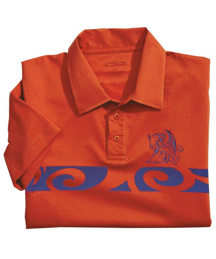 Tribal Crest Band - Lava Orange Pima Polo Shirt
