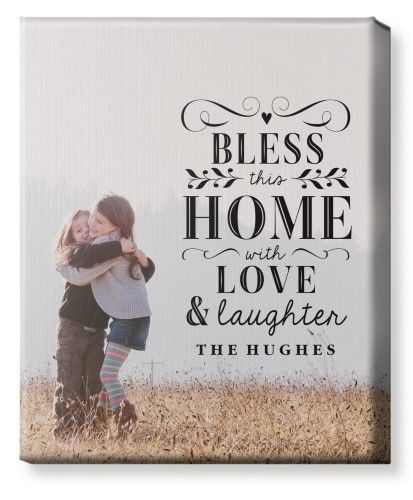 Bless This Home Canvas Print, None, Single piece, 16 x 20 inches, White