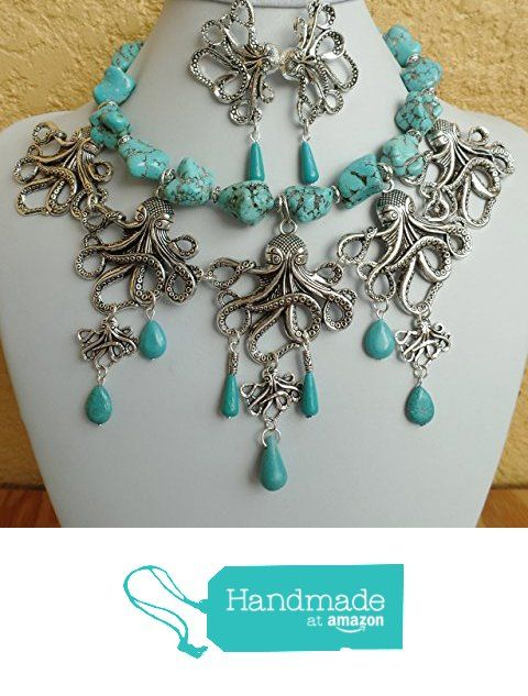 Multi-Octopus Gemstone Turquoise Silver Necklace Earrings One of a Kind from Claire Kern Creations https://www.amazon.com/dp/B01JF6HXVI/ref=hnd_sw_r_pi_dp_gr96xb534WRQQ #handmadeatamazon