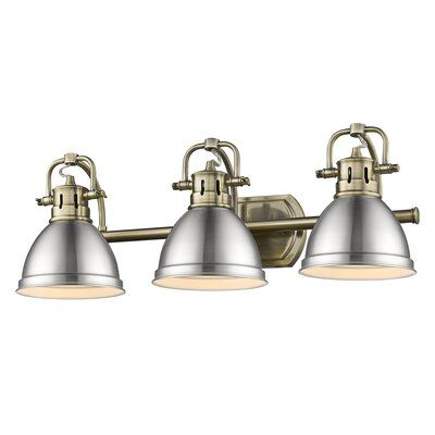 Photo of Morgane 3-Light Vanity Light Finish: Aged Brass with Pewter Shades