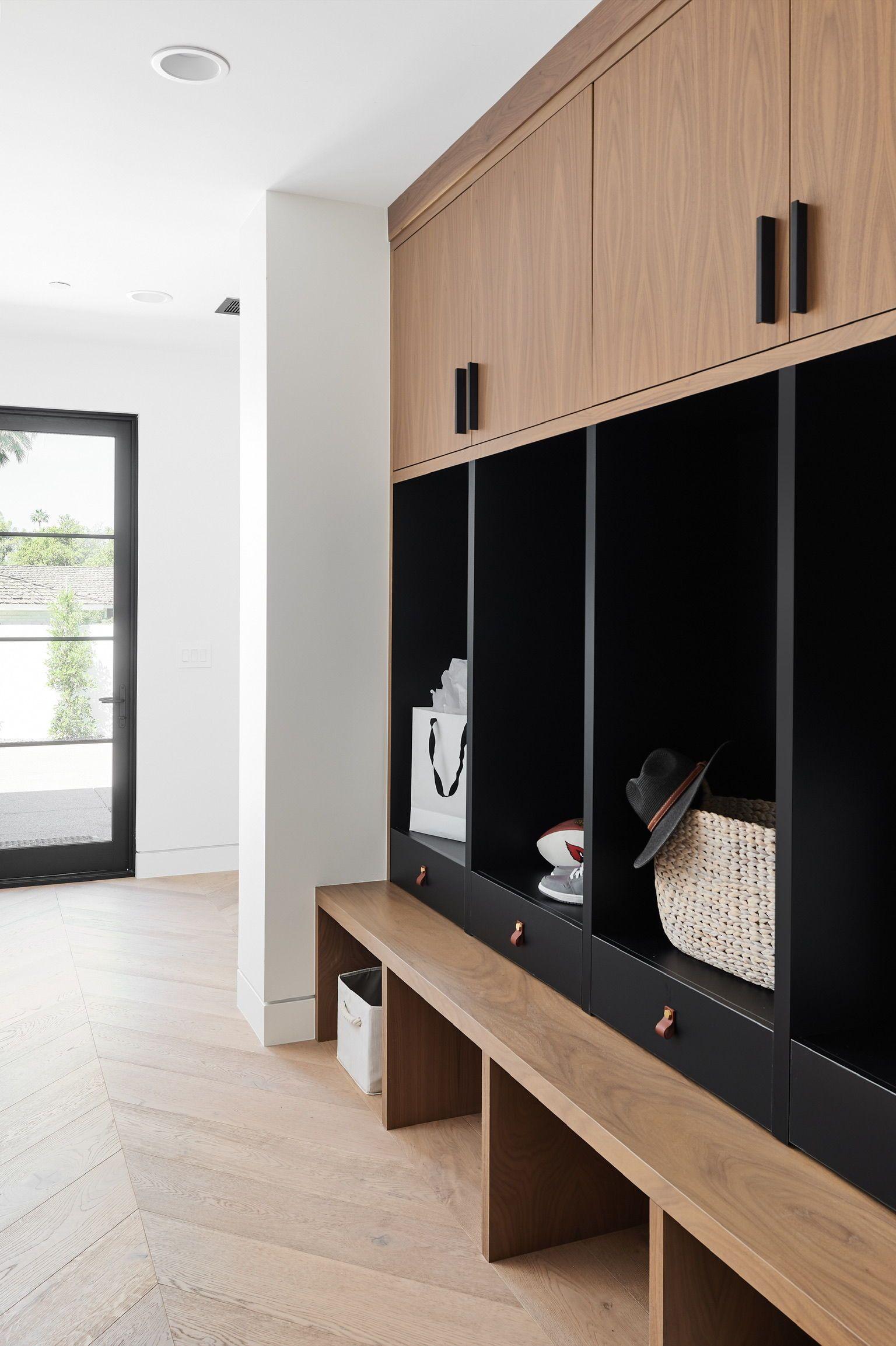 Modern Black And Walnut Drop Zone Mudroom Design Modern Mudroom Home Build me home mudroom edition