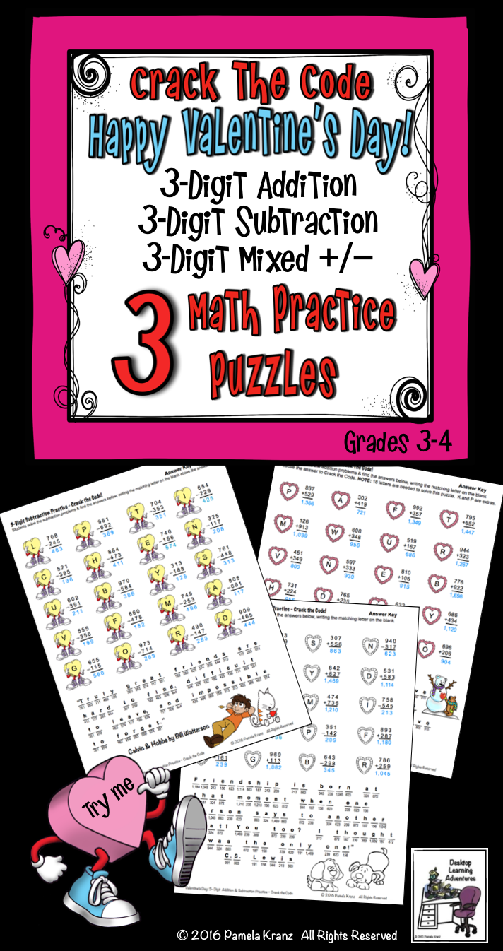 8c93e25cf096 Valentine s Day Math Practice fun with 3 Crack the Code puzzles! 3-digit  addition