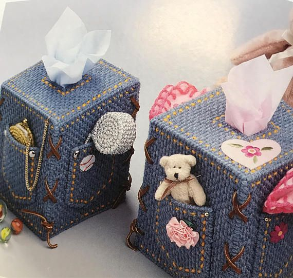 Blue Jean Tissue Box Cover Boutique Tisses Teenagers Room Decoration needlepoint plastic canvas   $15.00