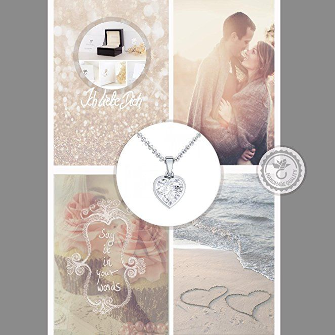 a2491d42b9d8 Herzkette Silber 925 ❤ ❤ ❤ Kette mit Anhänger Damen-Kette Zirkonia