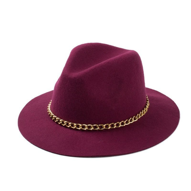 be093434a8313 Free Shipping 2015 New Fashionable Women 100% Wool Black Burgundy Red  Fedora Hat With Gold Chain For Ladies 57cm