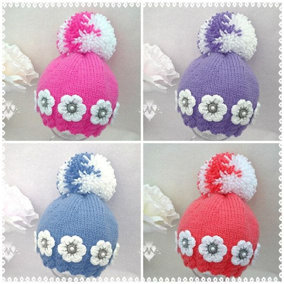 Knitting PATTERN Baby Hat Baby Girl Beanie Knitted Baby Cap Infant ...