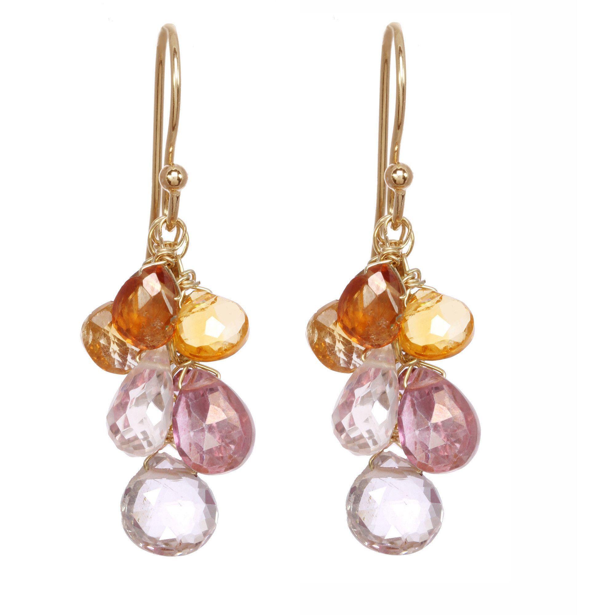 Michelle Pressler Earrings Pink Quartz and Carnelian Clusters 2506